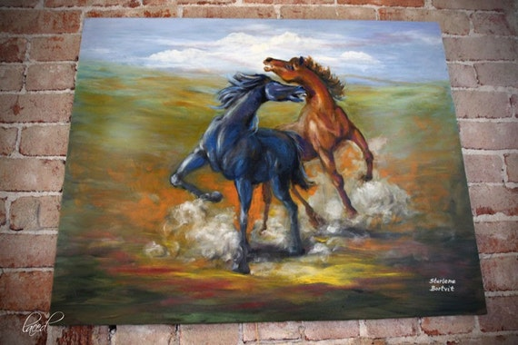 Free Shipping Fighting Stallions Oil Painting