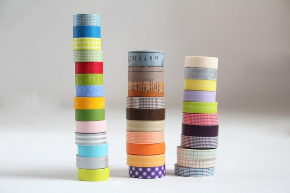 Japanese Washi Tape Digital Image  ||Stripes / Dots / Chevron / Grid / Floral / Vintage Assorted Washi Set- Washi Tape Set