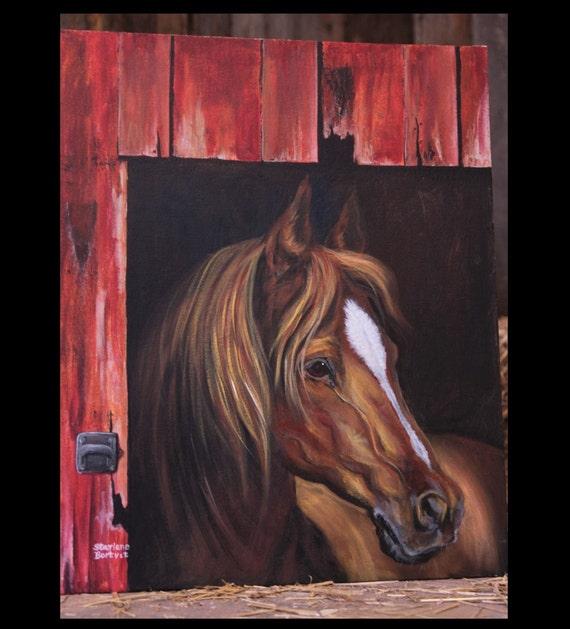 Horse in Barn Door Painting  20 x24 Acrylic on Canvas board