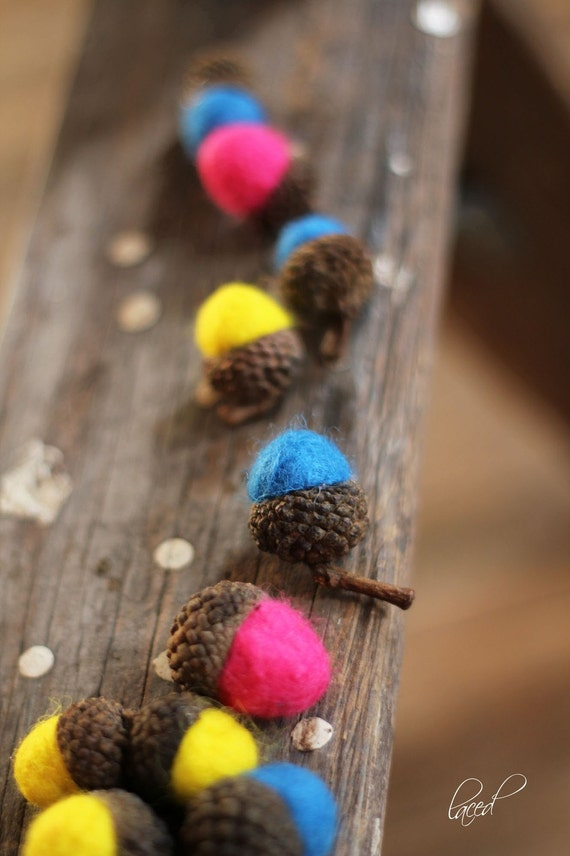 CANDY COLORED Wool Felted Acorns set of 12| boho, cottage chic, woodland, rustic