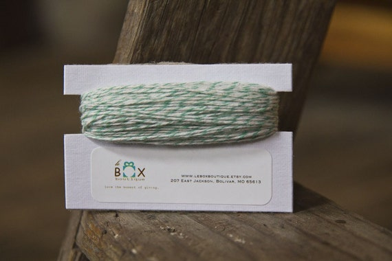 25 yards Mint and White Baker's Twine 4 ply FREE SHIPPING with additional purchase