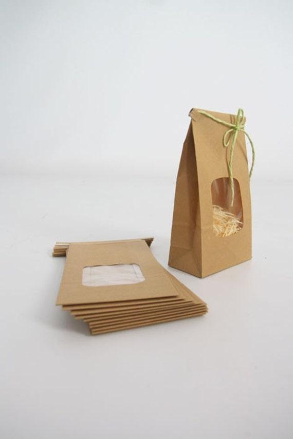 Kraft Tin Tie Bags Set of 10 with window