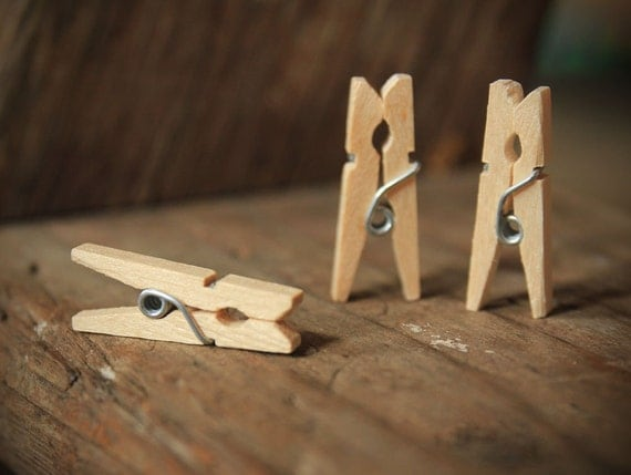 50 Mini Clothespins Natural Wood