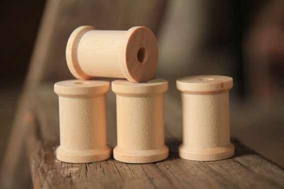 15 Natural Wooden Spools 1 3/16 x 7/8