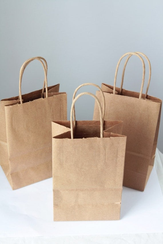 40- Recycled Kraft Handle Bags 8x 5 1/4 x 3 1/2 inches