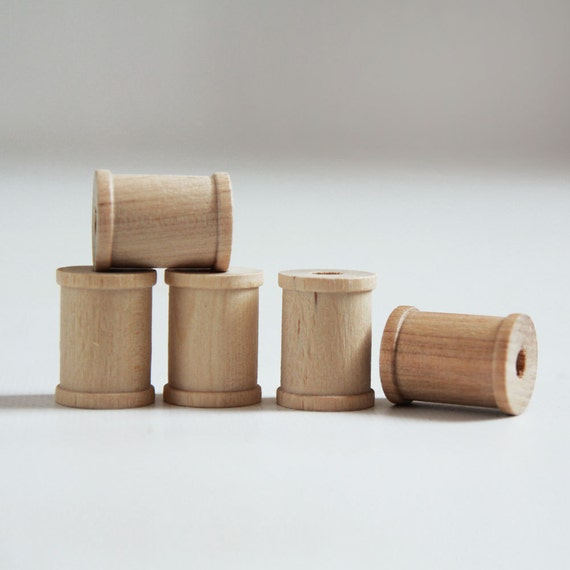 15 Natural Wooden Spools 1 x 3/4