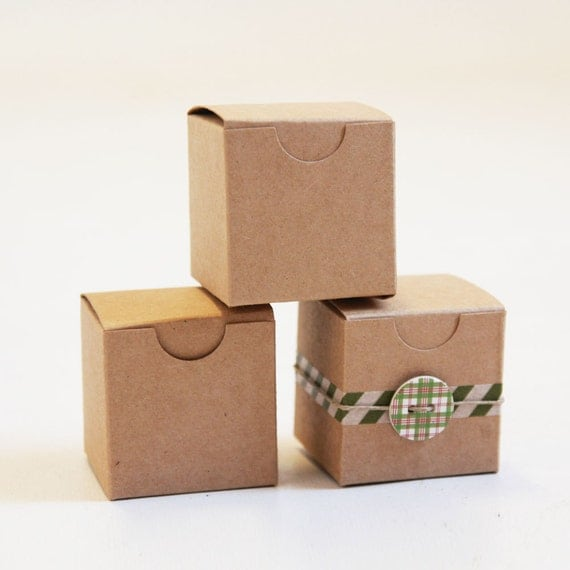 Kraft Natural Gift Box 2 x 2 x 2  Lot of 25 || Rustic Wedding Boxes, Ring Box,  Party Favor Box,  Brown Jewelry Box, Truffle Box