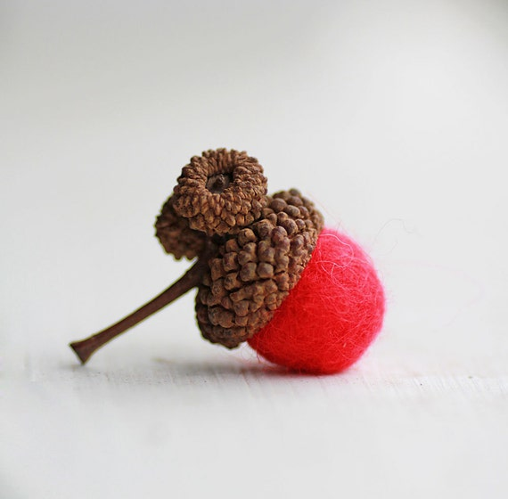 Set of 6 Red-  Wool Felted Acorns- As Seen in BETTER HOMES and GARDENS Magazine