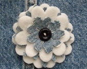 Upcycled & Tattered Levi Jeans Blue and White Wool Fleece Flower Pin . Clearance til April 15th