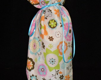 Wine or Liquor Bottle Bag Mod flowers