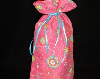 Wine or Liquor Bottle Bag pink flowers