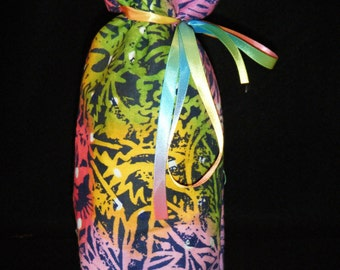Wine or Liquor Bottle Bag Batik Print