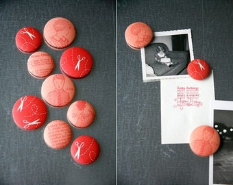 Fabric Button Magnet Set -  Coral