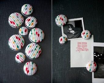 Fabric Button Magnet Set - Drops/Stripes