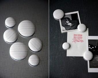Fabric Button Magnet Set - Handwriting Paper