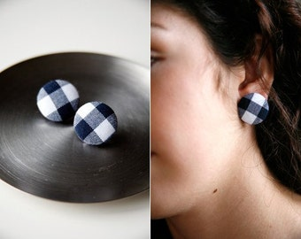 Nickel-Free Fabric Button Earrings - Navy Gingham