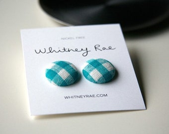 Nickel-Free Fabric Button Earrings - Teal Gingham