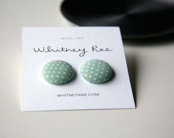 Nickel-Free Fabric Button Earrings - Green Dot