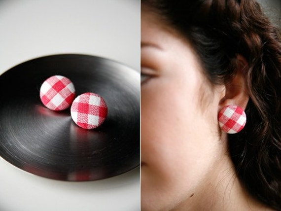 Nickel-Free Fabric Button Earrings - Coral Gingham