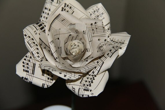 Handmade  Rose made from Vintage Music Sheets