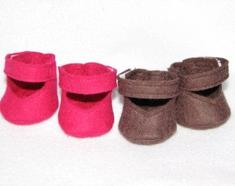 Doll Shoes in wool felt for 10 inch Doll Any Color MADE to ORDER - for dolls with stump feet