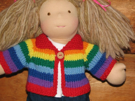 Waldorf Doll Sweater  Rainbow Stripes for 15 inch Doll MADE to ORDER