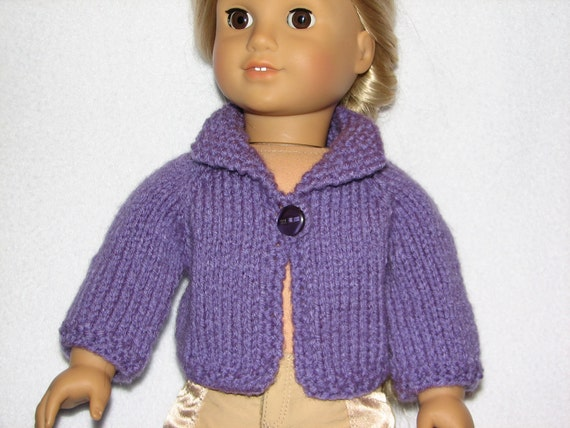 Doll Sweater Fits 15 inch or 18 inch Doll in Purple