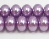 8x12mm Lavender Glass Pearl Rondelle Beads (12)