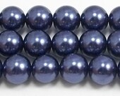 12mm Navy Glass Pearls- One strand- High Quality 12mm Glass Pearls #12NGP