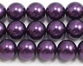 12mm Purple Glass Pearls 15.5 inch strand