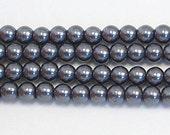 4mm Dark Gray glass pearls - 15.5 inch strand