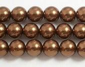 12mm Bronze Glass Pearl Beads