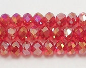 5x8mm Light Red AB Chinese Crystal  Rondelle Beads 20 pcs