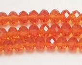 5x8mm Orange Chinese Crystal Rondelle Beads