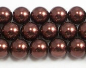 12mm Brown Glass Pearls