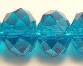 8x12mm Blue-01 Faceted Crystal Rondelle Beads (20)