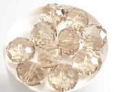 14x10mm Light Smoke Faceted Crystal Rondelle Beads (10)