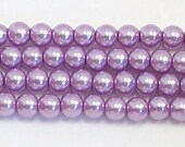 3mm Lavender Glass Pearl Beads - TWO strands