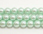 8mm Light Green Glass Pearls 5 pieces