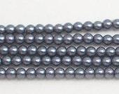 3mm Dark Gray Glass Pearls TWO strands