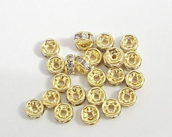 6mm Gold Plated Clear Rhinestone Rondelles 100 pcs Mideast Stones flat round high refraction brilliant sparkling rhinestone rondelles