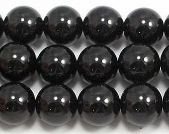 12mm Black Glass Pearls