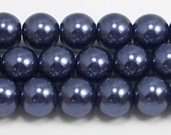 8mm Navy Blue Glass Pearl Beads - 15.5 inch strand of Navy Glass Pearls