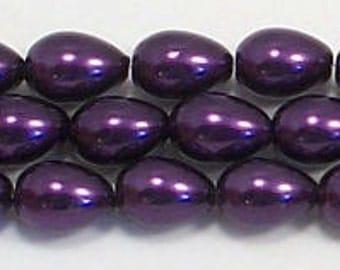 5x7mm Purple Teardrop Glass Pearl beads - 15.5 inch strand