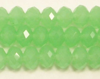 5x8mm Opaque Green Chinese Crystal Rondelle Beads (50)