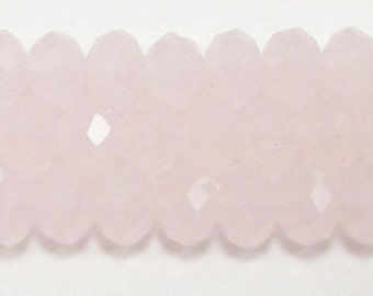 5x8mm Opaque Pink Chinese Crystal Rondelle Beads (50)