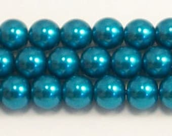 6mm Montana Blue Glass Pearl Beads Grade AAA 6mm montana glass pearls
