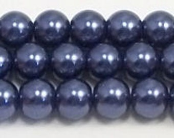 6mm Navy Blue Glass Pearl Beads