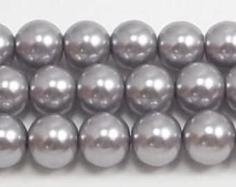 8mm Gray Glass Pearls 5 pieces