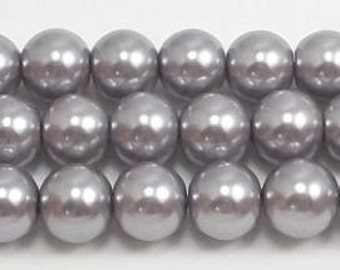 8mm Gray Glass Pearls - 15.5 inch strand of glass pearls